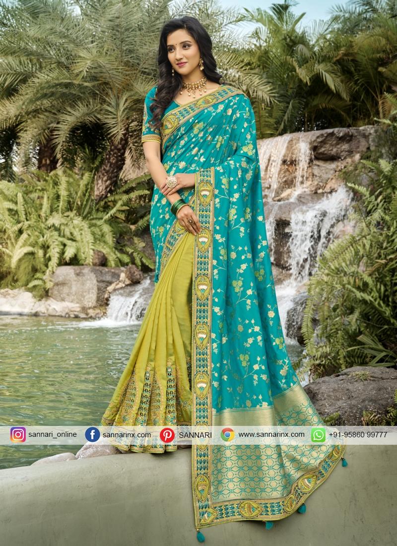 Pleasing Resham Banarasi Silk Designer Half N Half Saree