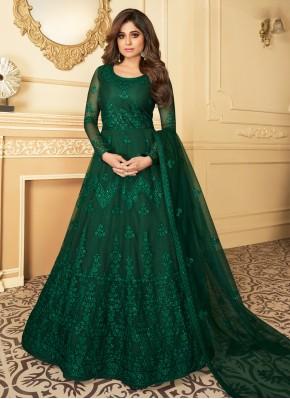 Pleasing Resham Green Anarkali Salwar Kameez
