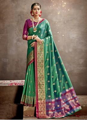 Pleasing Sea Green Art Silk Traditional Designer Saree
