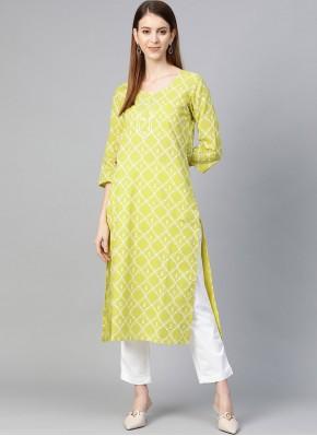 Pleasing Yellow Print Party Wear Kurti