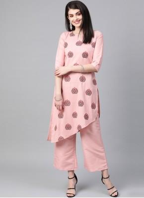 Poly Silk Designer Kurti in Pink