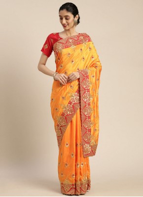 Poly Silk Embroidered Designer Traditional Saree in Mustard