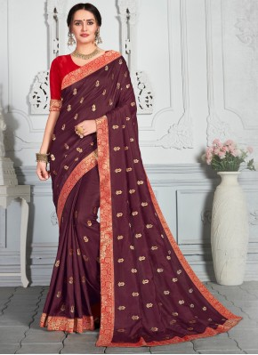 Poly Silk Embroidered Wine Contemporary Saree