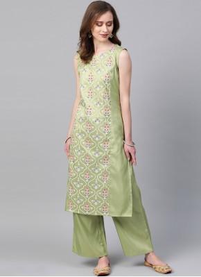 Poly Silk Green Print Casual Kurti