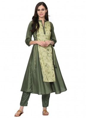 Poly Silk Party Wear Kurti in Green