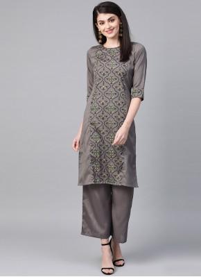 Poly Silk Party Wear Kurti in Grey