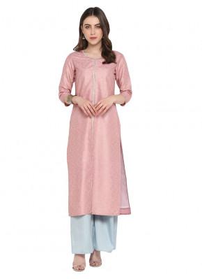Poly Silk Plain Pink Designer Kurti