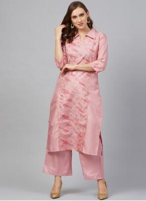 Poly Silk Print Designer Kurti in Pink