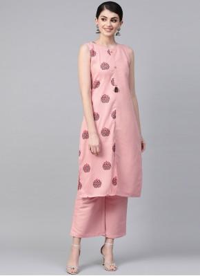 Poly Silk Print Pink Party Wear Kurti