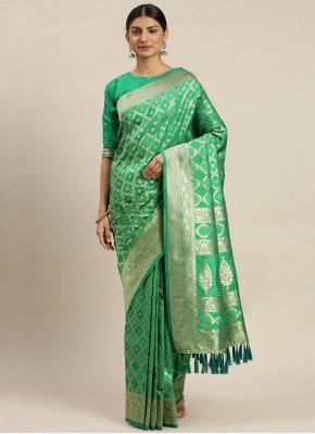 Poly Silk Weaving Green Traditional Designer Saree