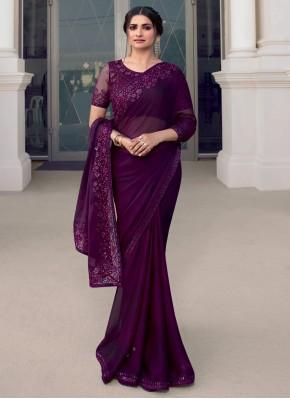 Prachi Desai Fantastic Purple Trendy Saree