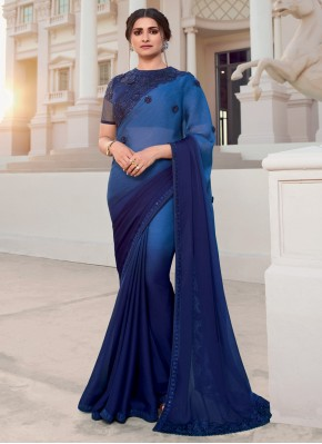 Prachi Desai Faux Chiffon Blue Embroidered Shaded Saree