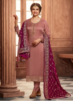 Prachi Desai Georgette Satin Embroidered Brown Pant Style Suit