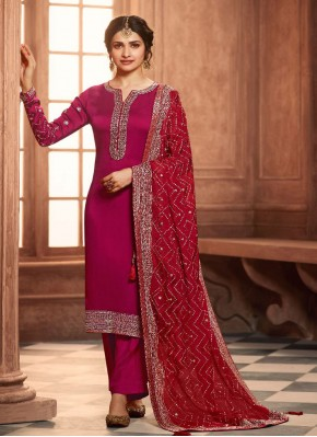 Prachi Desai Georgette Satin Pink Embroidered Pant