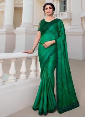 Prachi Desai Vichitra Silk Green Embroidered Classic Designer Saree