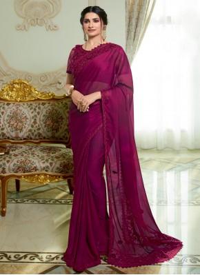 Prachi Desai Wine Traditional Designer Saree