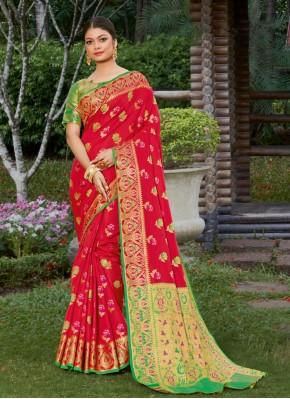 Praiseworthy Banarasi Silk Red Woven Designer Traditional Saree