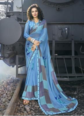 Praiseworthy Blue Casual Casual Saree