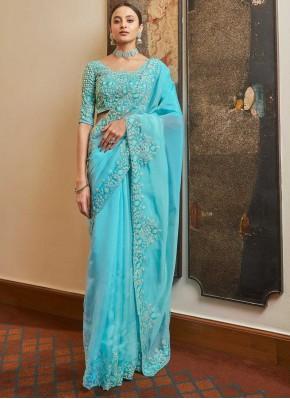 Praiseworthy Blue Resham Organza Designer Traditional Saree