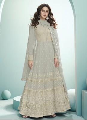 Praiseworthy Georgette Embroidered Anarkali Salwar Kameez