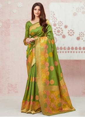 Praiseworthy Green Weaving Silk Contemporary Saree