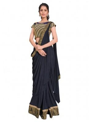Praiseworthy Navy Blue Designer Saree