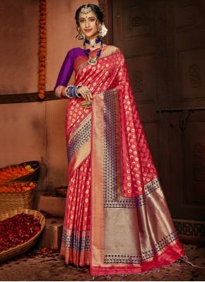 Praiseworthy Red Silk Traditional Saree
