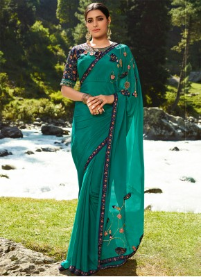 Praiseworthy Silk Green Designer Saree