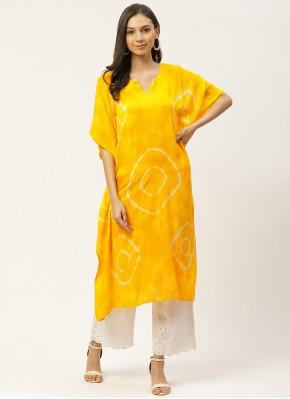 Praiseworthy Yellow Festival Party Wear Kurti