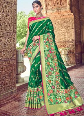 Precious Green Embroidered Classic Designer Saree