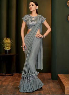 Precious Lycra Applique Grey Trendy Saree