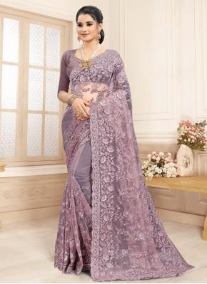 Precious Net Lavender Designer Saree