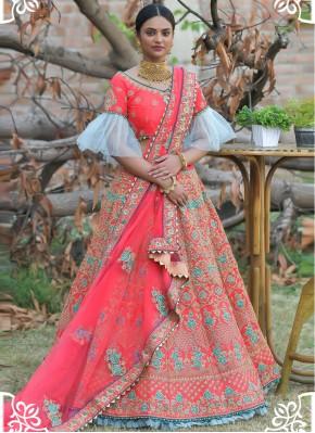 Precious Pashnima Silk Resham Hot Pink Lehenga Choli