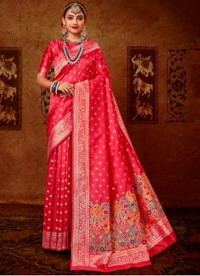 Precious Rose Pink Weaving Designer Traditional Saree