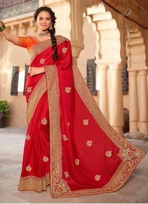 Precious Silk Red Designer Saree