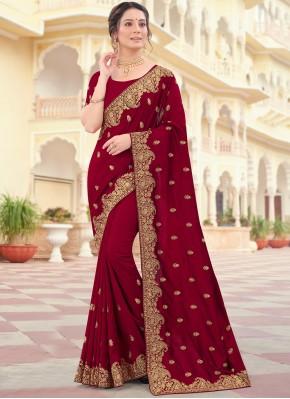 Precious Vichitra Silk Maroon Traditional Designer Saree
