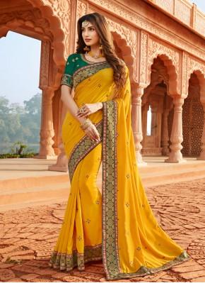 Precious Yellow Silk Classic Designer Saree