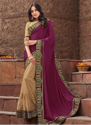 Preferable Cream and Purple Designer Saree