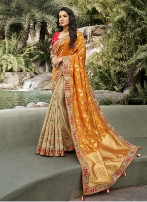 Preferable Designer Half N Half Saree For Mehndi