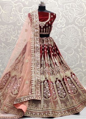 Preferable Embroidered Maroon Lehenga Choli