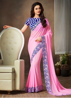 Preferable Pink Lace Faux Georgette Traditional Saree