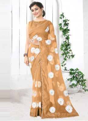 Preferable Print Net Brown Printed Saree
