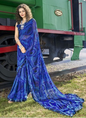 Prepossessing Abstract Print Blue Casual Saree