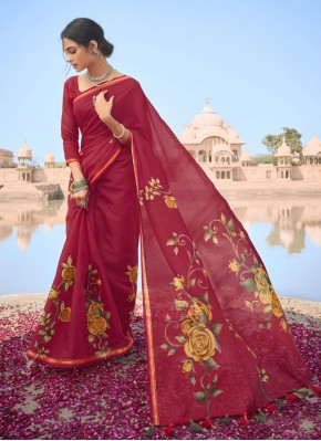 Prepossessing Abstract Print Multi Colour Cotton Printed Saree