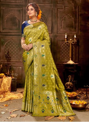 Prepossessing Banarasi Silk Green Traditional Saree