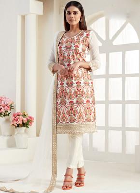 Prepossessing Georgette Cream Thread Designer Straight Salwar Suit