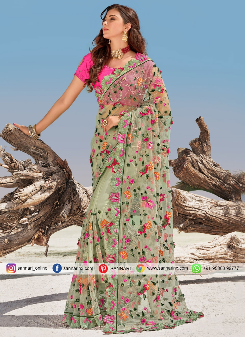 Prepossessing Green Bridal Traditional Saree