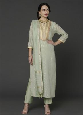 Prepossessing Green Resham Designer Pakistani Salwar Suit
