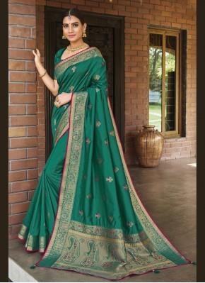Prepossessing Green Weaving Silk Traditional Designer Saree