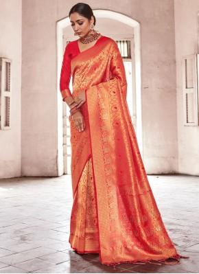 Prepossessing Handloom silk Weaving Designer Traditional Saree